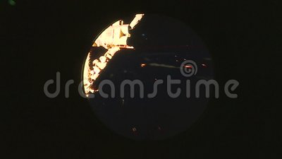Aarde, mening van het venster van het Internationale ruimtestation ISS NASA en ontdekking stock illustratie