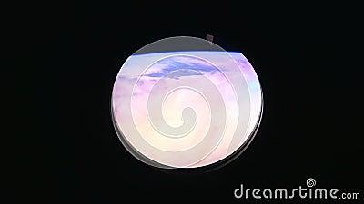 Aarde, mening van het venster van het Internationale ruimtestation ISS NASA en ontdekking vector illustratie