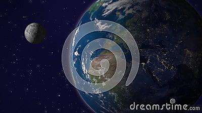 Aarde met maan animatie, Versie5, Europa en Afrika stock video