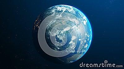 Aarde roteert in donkerblauwe ruimte Nachtplaneet en felle stadslichten royalty-vrije illustratie