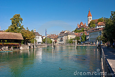 Aare river, thun, switzerland