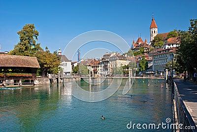 Aare river, thun, switzerland