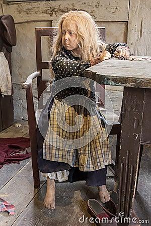 Free Aarhus, Denmark - April 12, 2015: Medieval Poor Young Girl In Op Royalty Free Stock Image - 53393806