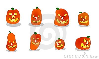 Jogo de 8 abóboras diferentes de Halloween, isolado em um fundo
