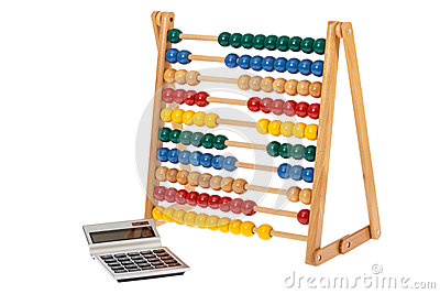 Abacus and a pocket calculator