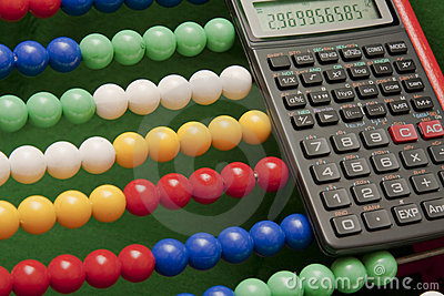 Abacus and scientific calculator