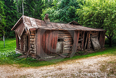 Abandon collapsed log cabin