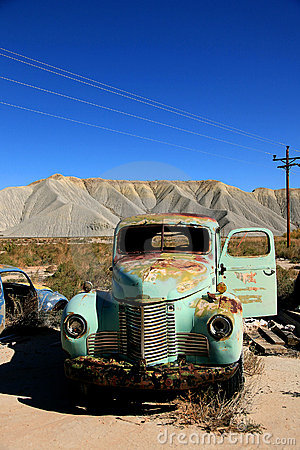 Abandoned antique old truckin the desert