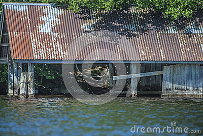 Abandoned boat house at five sea