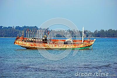 Abandoned Boat on the sea at Koh Mak