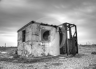 Abandoned shack on beach. Dungeness UK