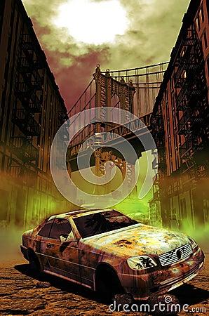 Abandoned car in Manhattan