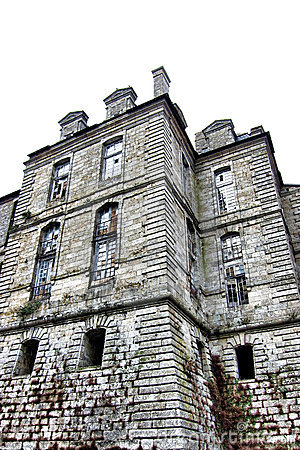 Abandoned Castle Tower with Broken Windows