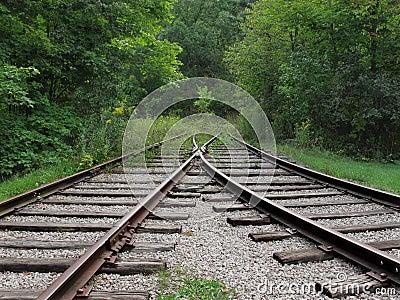 Abandoned converging railroad tracks
