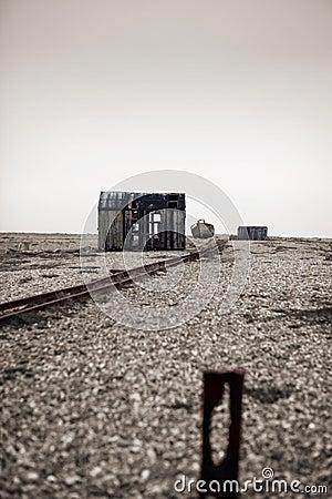 Abandoned dilapidated cabin hut beach fishing