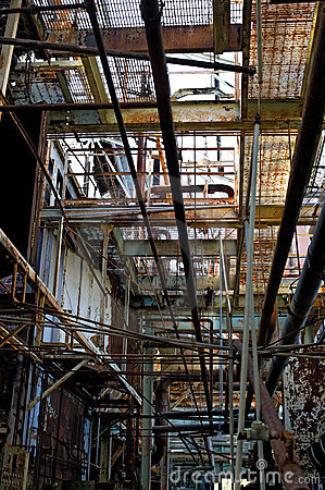 Abandoned factory hallway