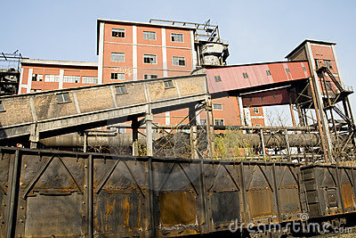 Abandoned factory and train