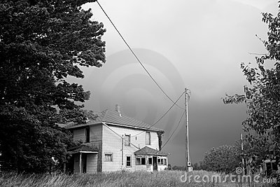 Abandoned Farm House Awaits a Downpour (B&W)