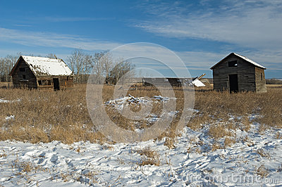 Abandoned farm in winter