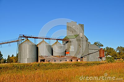 Abandoned Grain Elevator System Stock Photo