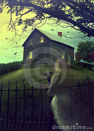Free Abandoned Haunted House On The Hill With Ghost Royalty Free Stock Photo - 21391885