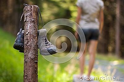 Abandoned hiking shoes