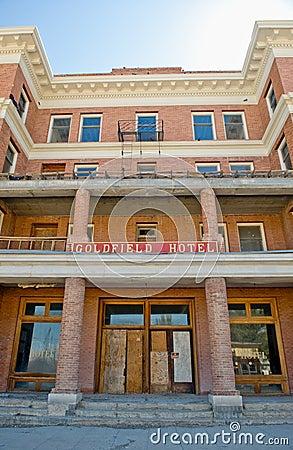 Abandoned hotel exterior