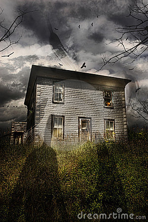 Abandoned house with flying ghosts