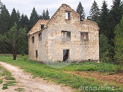 Abandoned house without roof