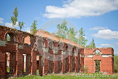 Abandoned landmark, brick walls