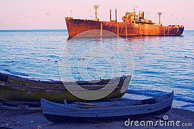 Abandoned large ship