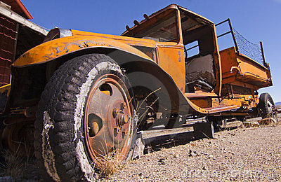 Abandoned Mining Flat Bed Truck