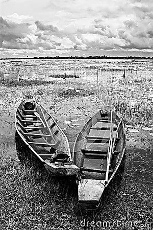 Abandoned native Thai style wood boat
