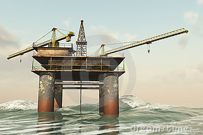 Abandoned off shore oil rig
