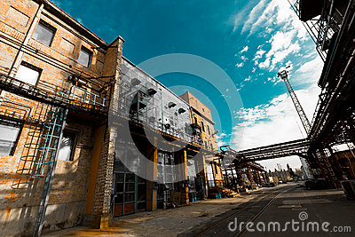 Abandoned old chemical factory building