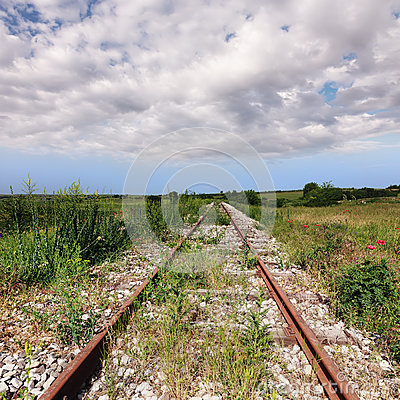 Abandoned old rusty railroad
