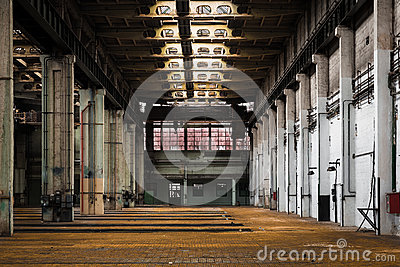 Abandoned old vehicle repair station interior