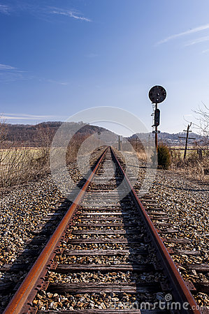 Free Abandoned Railroad Signal - Track View Royalty Free Stock Photography - 98548927