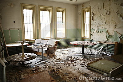 Abandoned recreation room.