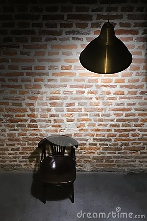 Free Abandoned Room Of Red Brick With The Light Of Lamp. Royalty Free Stock Photography - 107806987