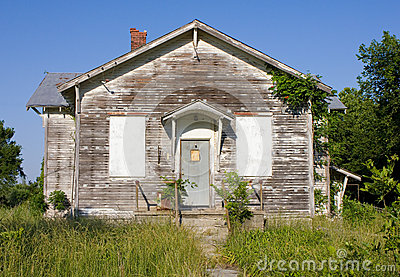 Abandoned Rural One Room Schoolhouse