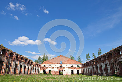Abandoned Russian landmark, old military quarters