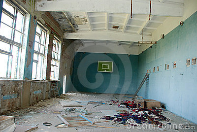 Abandoned school gym in the Chernobyl zone