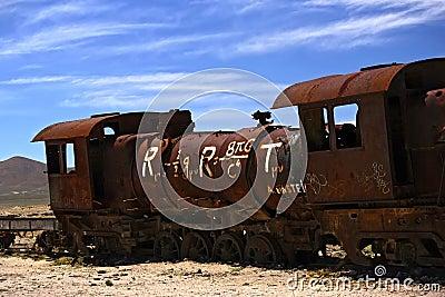 Abandoned steam train at Altiplano, Bolivia