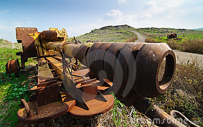 Abandoned Syrian Gun on Golan Heights