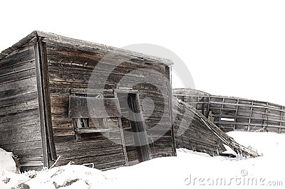 Abandoned Wood Farm Building in Winter