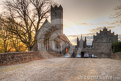 Abbey in Adare at sunset