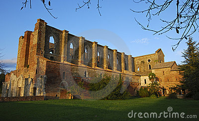 Abbey of San Galgano at sunset
