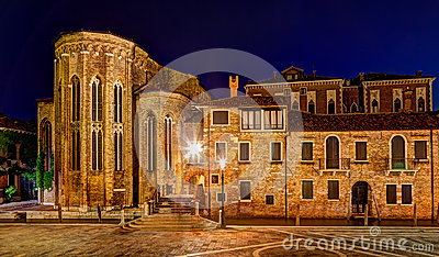 Abbey of San Gregorio in Venice at night