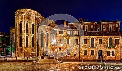 Abbey San Gregorio Venice Italy night